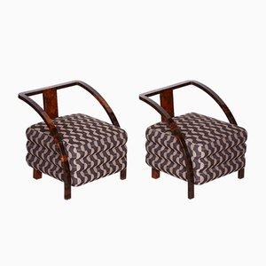 Art Deco Brown Armchairs, 1920s, Set of 2
