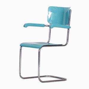 Czech Bauhaus High Gloss Blue Beech & Chrome Office Armchair by Vichr a Spol, 1930s