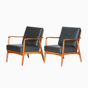Mid-Century Oak & Leather Armchairs in Brown & Gray, 1940s, Set of 2