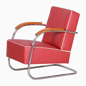Red Leather & Tubular Steel Cantilever Chrome Armchair from Mücke Melder, 1930s