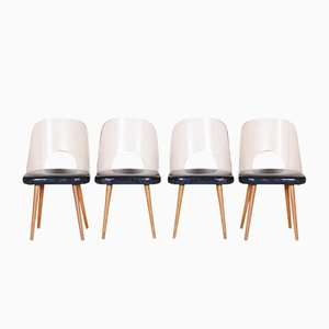 Black & White Beech Chairs by Oswald Haerdtl, 1950s, Set of 4