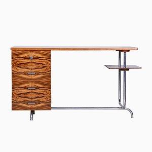 Art Deco Eiche, Nussholz & Chrom Modell H-180 Schreibtisch von Jindrich Halabala für Up Závody, 1930er