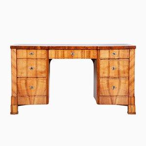 Tschechischer brauner Biedermeier Schreibtisch aus Nussholz, 1830er