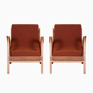 Mid-Century Brown & Red Oak Armchairs by Jan Vanek, 1940s, Set of 2