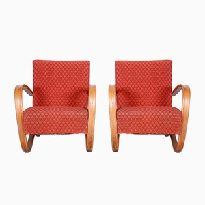 Czech Art Deco Red Beech H-269 Armchairs by Jindrich Halabala for Up Závody, 1930s, Set of 2