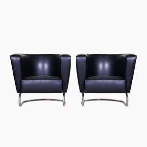 Czech Art Deco Black Armchairs by Jindrich Halabala, 1930s, Set of 2