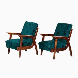 Mid-Century Brown & Green Beech Armchairs by Jan Vaněk, 1940s, Set of 2
