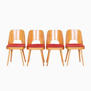Czech Brown & Red Beech Chairs by Oswald Haerdtl, 1950s, Set of 4