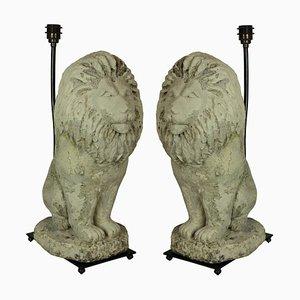 Vintage Stein Löwen Tischlampen, 2er Set