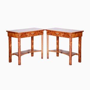 Czech Art Deco Brown Elm Side Tables, 1920s, Set of 2