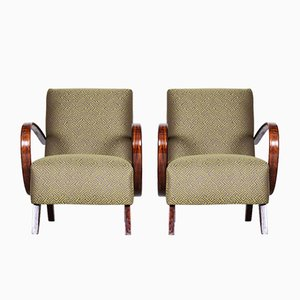 Czech Art Deco Green Beech Armchairs by Jindřich Halabala for Up Závody, 1930s, Set of 2