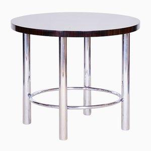 Runder Bauhaus Tisch aus Chrom & Makassarholz von Mücke Melder, 1930er