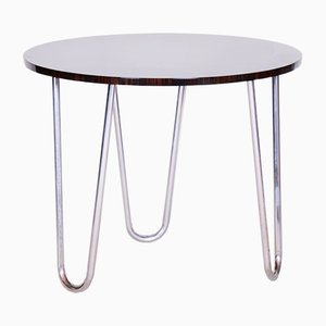 20th Century Rounded Macassar & Chrome-Plated Steel Bauhaus Table, 1940s