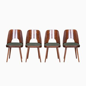 Czech Brown & Green Beech Chairs by Oswald Haerdtl, 1950s, Set of 4