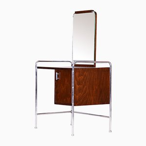 Vintage Czech Chrome & Beech Bauhaus Dressing Table with Mirror, 1930s