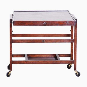 Early 20th Century Czech Art Deco Oak Trolley, 1930s