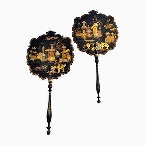 Ventiladores franceses estilo Chinopoleie de Napoleon III. Juego de 2