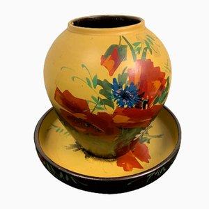 Vaso e vassoio vintage in terracotta