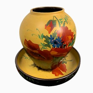 Vintage Terrakotta Vase und Tablett Set