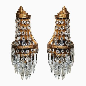 French Louis XVI Style Brass & Crystal Glass Balloon Wall Sconces, Set of 2