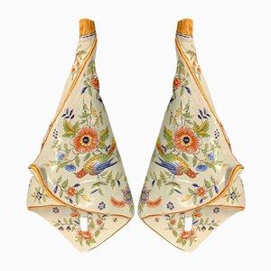 Vintage Porcelain Flower Horns from Desvres, Set of 2