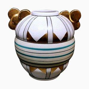 Vintage Art Deco Craquelé Keramik Vase von AMC Belgium