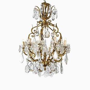 Lámpara de araña de cristal y 10 lámparas doradas