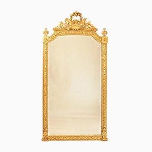 Espejo de pared antiguo biselado con marco original dorado, siglo XIX