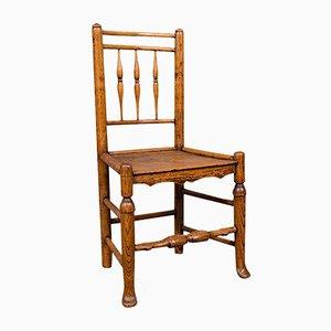 Kleiner antiker englischer viktorianischer Tanner's Stuhl aus Esche & Ulmenholz mit spindelförmiger Rückseite
