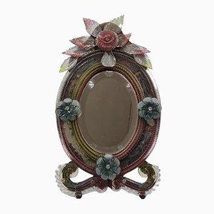 Großer bunter Murano Glas Tischspiegel, 1800er