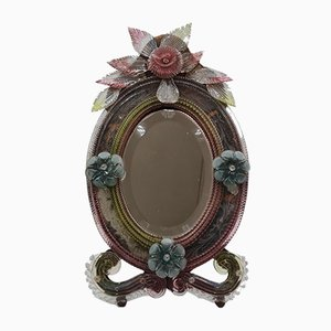 Large Colored Murano Glass Table Mirror, 1800s