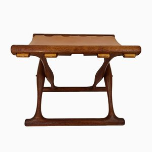 Teak and Leather Guldhoj Folding Stool by Poul Hundevad for Hundevad & Co., 1960s