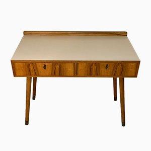 Deutscher Birkenholz Schreibtisch mit Messing Spitzen, 1950er