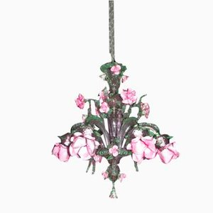 Amethyst and Pink & Green Murano Glass 6-Light Roseto Chandelier, 20th Century