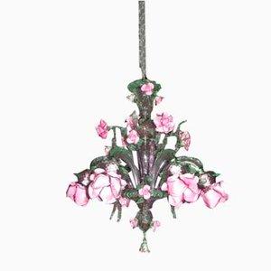 Lámpara de araña de cristal de Murano y rosa de 6 luces en rosa y rosa amatista, siglo XX