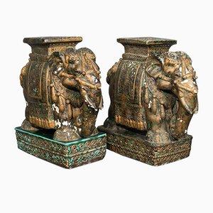 Mesas bajas auxiliares decorativas indias antiguas de cerámica. Juego de 2