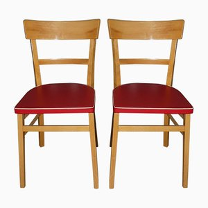 Red Kitchen Chairs, 1950s, Set of 2