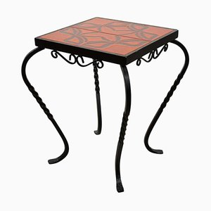 Ceramic and Wrought Iron Side Table or End Table, 1950s