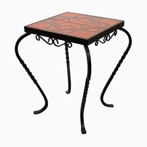 Mesa auxiliar o mesa auxiliar de hierro forjado y cerámica, años 50