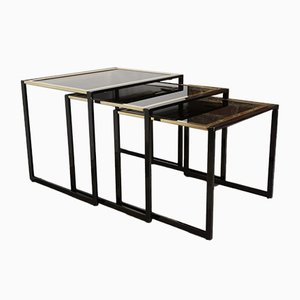 Black Lacquered & Gold Plated Metal Nesting Tables, 1970s, Set of 3