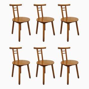 Eichenholz Stühle, 1980er, 6er Set