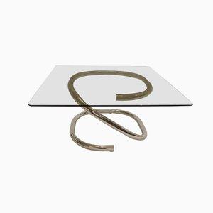Tavolino da caffè in metallo cromato e vetro