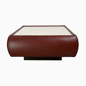 Table Basse Carrée Vintage en Travertin et Cuir