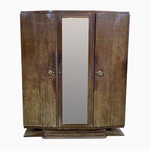 Vintage Art Deco Kleiderschrank mit 3 Türen und Palisander Furnier