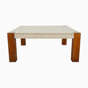 Large Teak and Travertine Coffee Table, 1960s