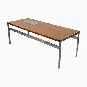 Table Basse en Teck, Chrome et Céramique, 1950s