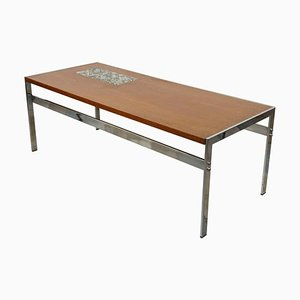 Teak, Chrome and Ceramic Coffee Table, 1950s