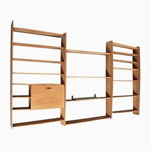 Mueble de pared modular grande de roble, años 50