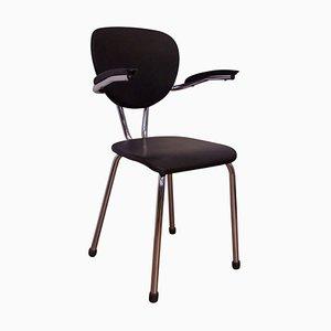 Silla de escritorio de cromo y cuero sintético negro, años 50