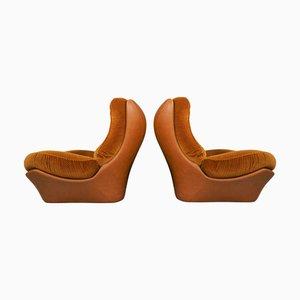 Cognacfarbene Orsay Stühle aus Kunstleder und Samt von Beka, 2er Set